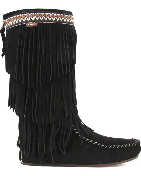 Lamo Women's Virginia Fringe Boots - Moc Toe, Black, hi-res