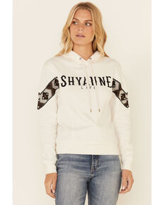 Shyanne Life Women's Sand Logo Embroidered Sleeve Lace Pullover Hoodie , Sand, hi-res