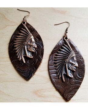 Jewelry Junkie Women's Indian Chief Oval Leather Earrings, Brown, hi-res