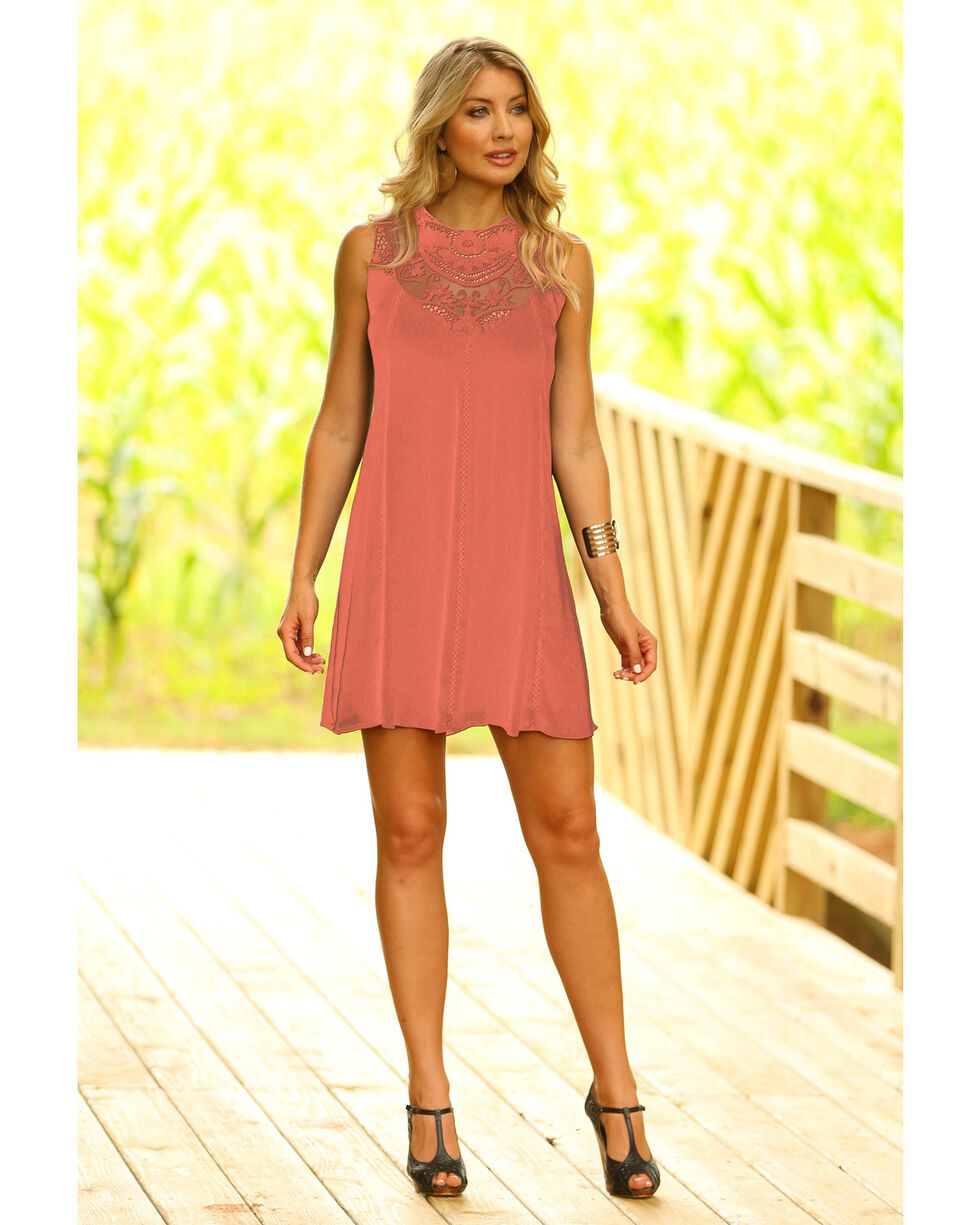 Wrangler Women's Blush Lace Sleeveless Swing Dress, Light Pink, hi-res