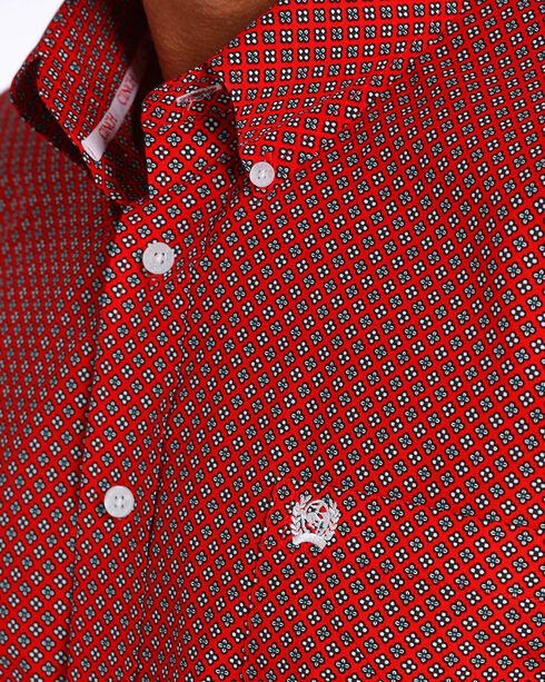 Cinch Men's Red Print Short Sleeve Button Down Shirt, Red, hi-res