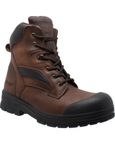 "AdTec Men's 8"" Waterproof Brown Leather Work Boots - Composite Toe , Brown, hi-res"