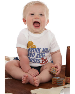 Wrangler Infant Boys' Drink Milk and Ride Horses Knit Onesie, White, hi-res