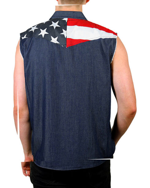 Cody James Men's Union American Flag Denim Shirt, Navy, hi-res
