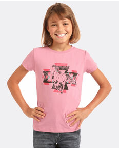 Rock & Roll Cowgirl Girls' Aztec Running Horse Graphic T-Shirt , Pink, hi-res