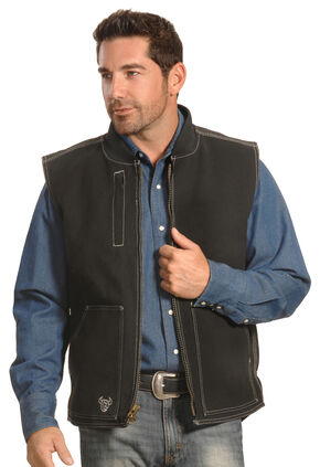 Cowboy Hardware Men's Black Steer Skull Vest , Black, hi-res