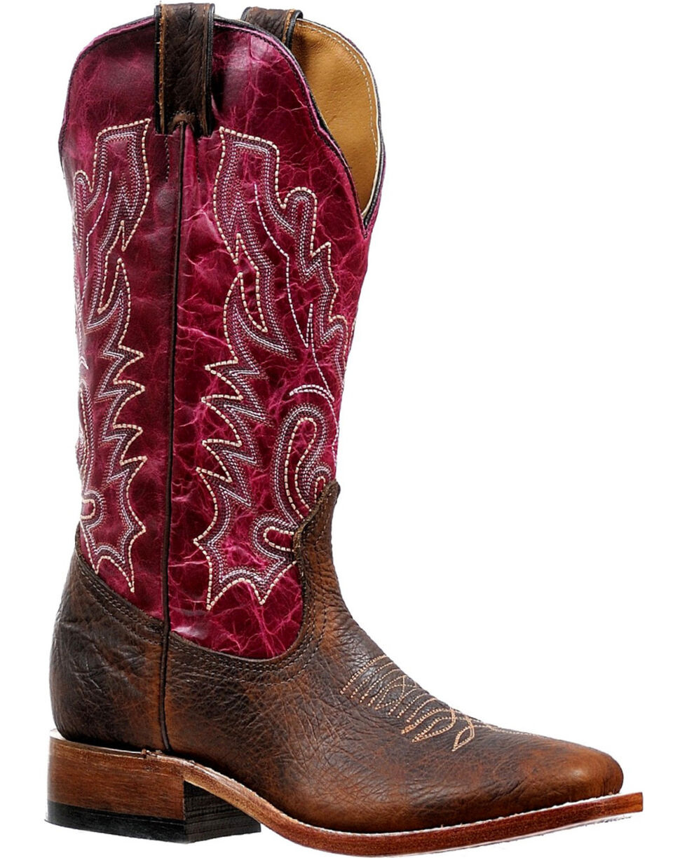 Boulet Women's Embroidered Stockman Boots - Square Toe, Brown, hi-res