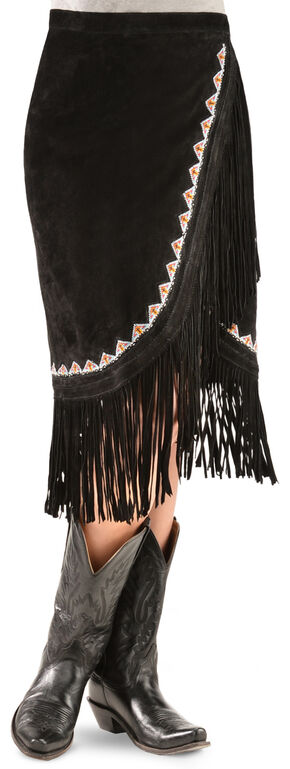 Kobler Leather Women's Yuma Fringe Suede Skirt, Black, hi-res