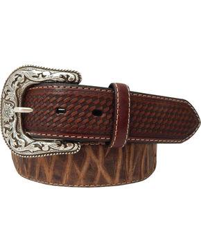 Roper Men's Top Grain Leather Belt with Bark Design , Brown, hi-res