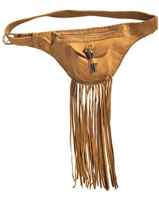 Kobler Tan Fringe Fanny Pack, Tan, hi-res
