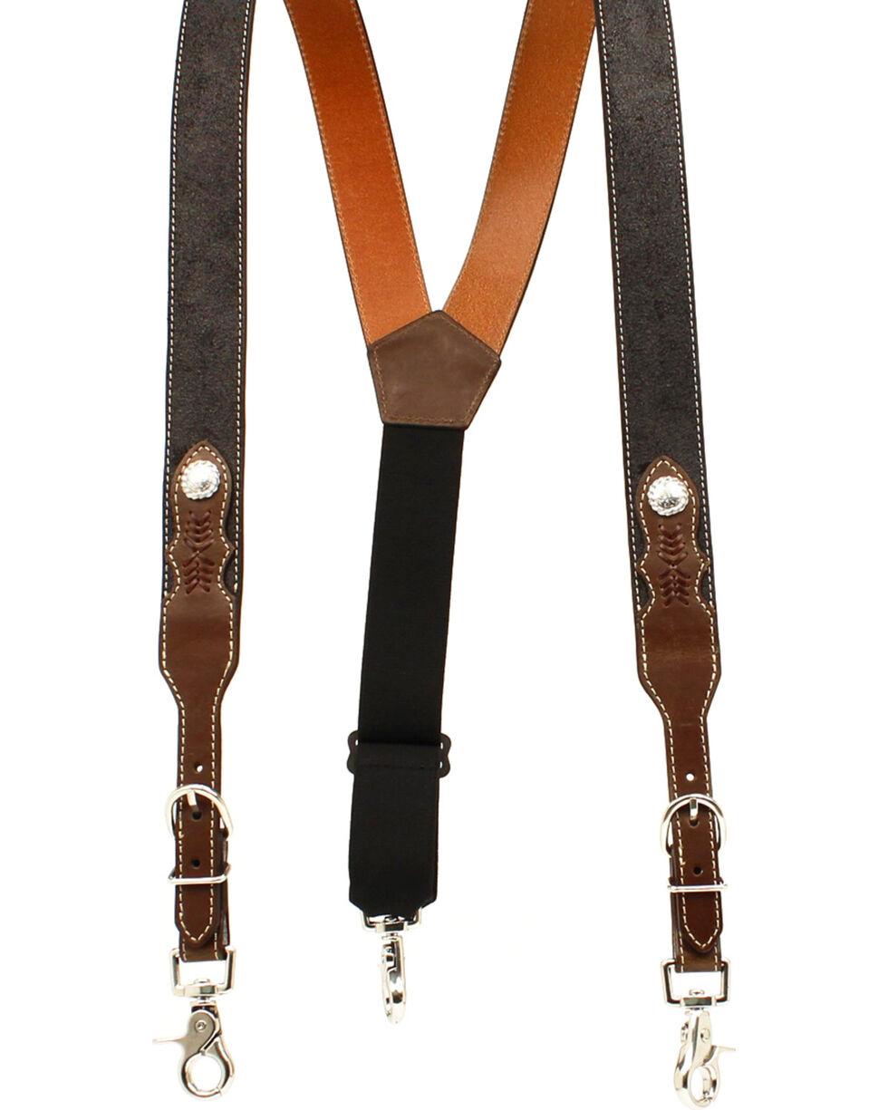 Nocona Men's Round Concho Western Suspenders , Black, hi-res