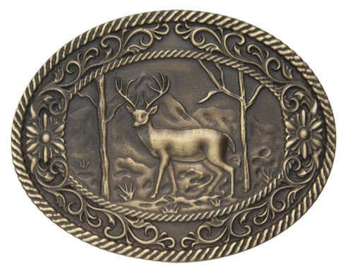 AndWest Men's White Tail Deer with Scrolls Belt Buckle, Brass, hi-res