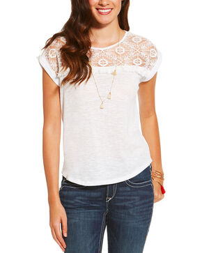 Ariat Women's White Rita Top , White, hi-res