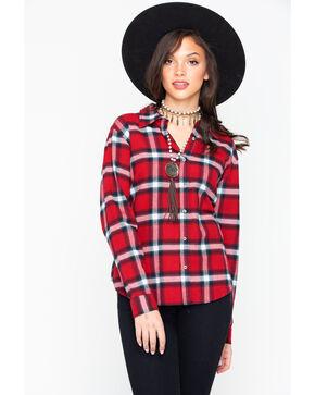 Wrangler Women's Red Boyfriend Flannel Plaid Shirt , Red, hi-res