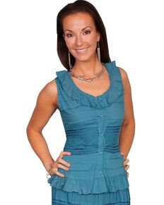 Scully Crocheted Sleeveless Top, Blue, hi-res