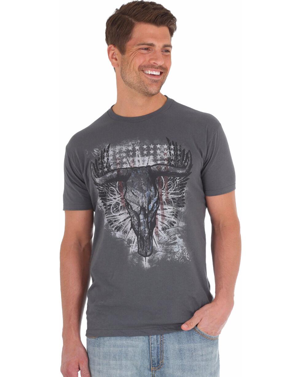 Wrangler Rock 47 Men's Grey Bull Skull Longhorn Tee , Grey, hi-res