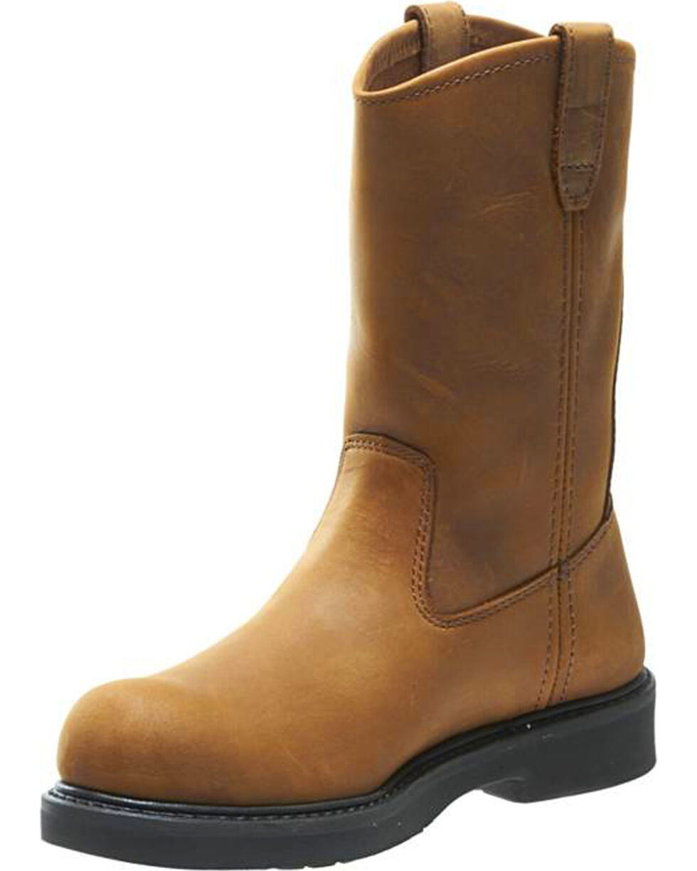 Wolverine Men's Brown Ingham Durashocks Wellington Work Boots - Steel Toe, Brown, hi-res
