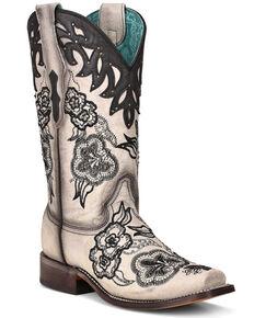 Corral Women's White Overlay Western Boots - Square Toe, Cream/black, hi-res