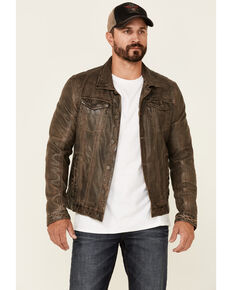 Mauritius Leather Men's Brown Geoff Zip-Front Distressed Trucker Leather Jacket , Brown, hi-res