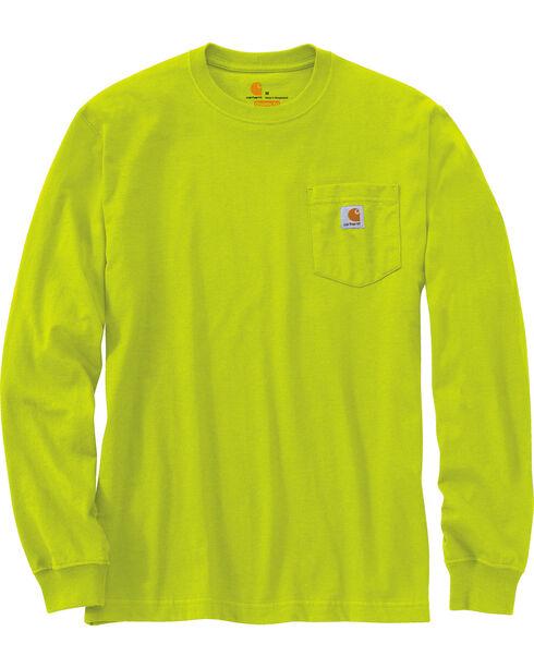 Carhartt Men's Green Long Sleeve Pocket T-Shirt , Green, hi-res