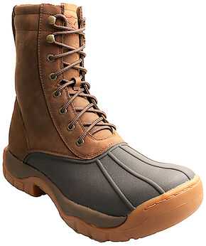 "Twisted X Men's 8"" Lace-Up Brown Rubber Boots - Round Toe, Brown, hi-res"