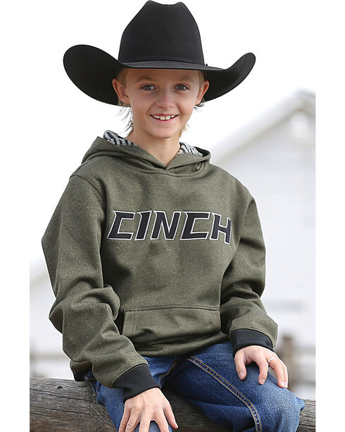 Cinch Boys' Olive Tech Fleece Hoodie , Olive, hi-res