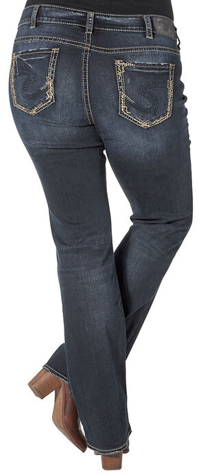 Silver Women's Elyse Mid Slim Boot Dark Wash Jeans - Plus, Blue, hi-res