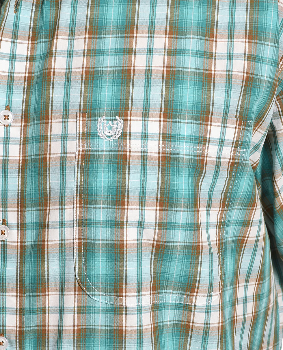 Rough Stock by Panhandle Men's Evanston Ombre Plaid Short Sleeve Shirt, Blue, hi-res