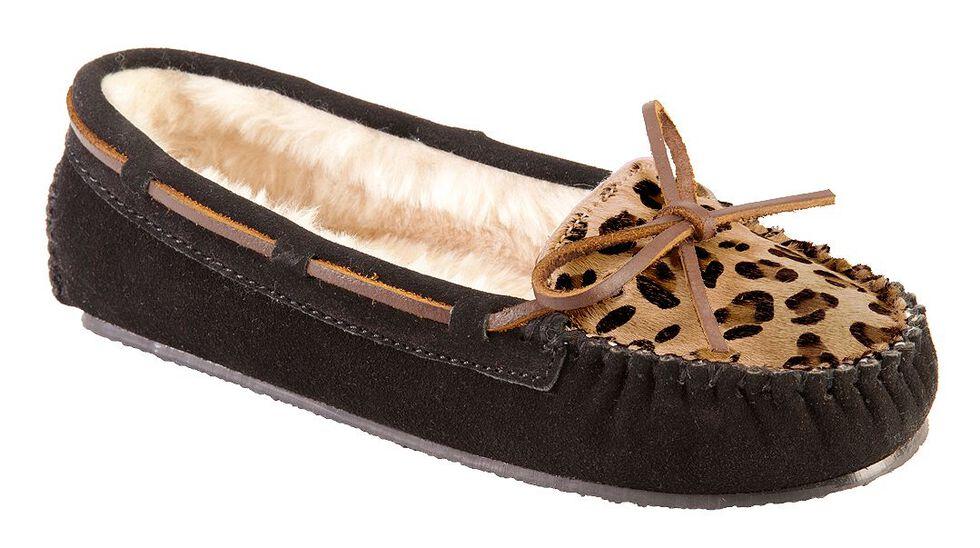 Women's Minnetonka Leopard Cally Moccasins, Black, hi-res