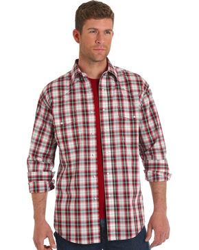 Wrangler Men's Red Wrinkle-Resistant Plaid Shirt , Red, hi-res