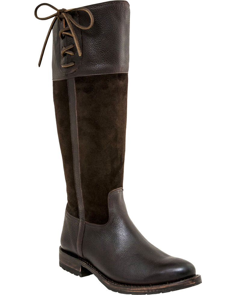 Lucchese Women's Handmade Emma Equestrian Boots - Round Toe , Chocolate, hi-res