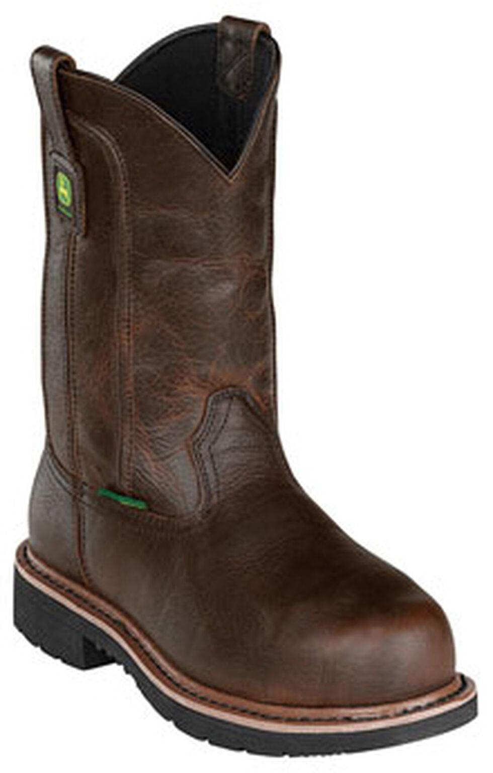 John Deere Men's Leather Pull-On Work Boots - Steel Toe, Dark Brown, hi-res