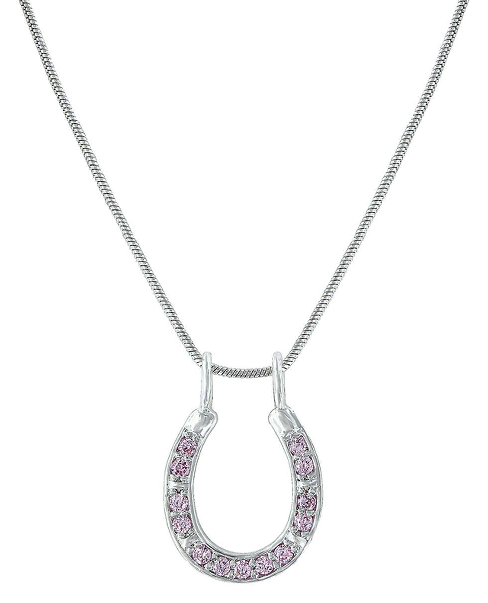 Montana Silversmiths Women's Shining Pink Horseshoe Necklace , Pink, hi-res