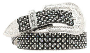 Nocona Rhinestone Embellished Belt, Black, hi-res