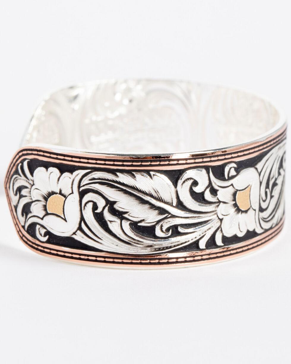 Montana Silversmiths Women's LeatherCut Tri-Colored Floral Cuff Bracelet, Silver, hi-res