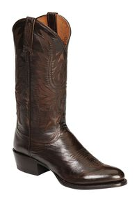Lucchese Handmade Lonestar Calf Cowboy Boots - Medium Toe, Walnut, hi-res