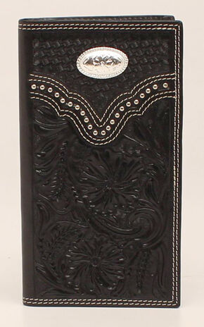 Nocona Floral Oval Concho Rodeo Wallet, Black, hi-res