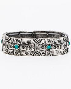 Shyanne Women's Summer Escape Simple Turquoise Beaded Cross Stretch Bracelet, Silver, hi-res
