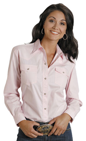 Roper Women's Amarillo Solid Pearl Snap Western Shirt, Pink, hi-res