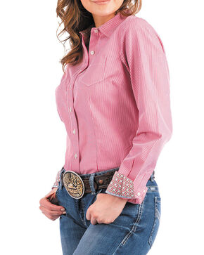 Cinch Women's Pink Striped Western Shirt , Purple, hi-res