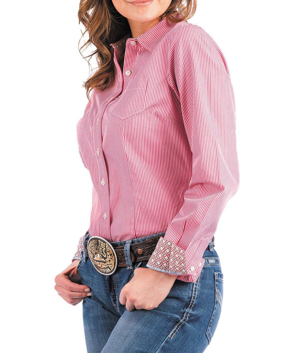 Cinch Women's Pink Striped Western Shirt , Purple, hi-res