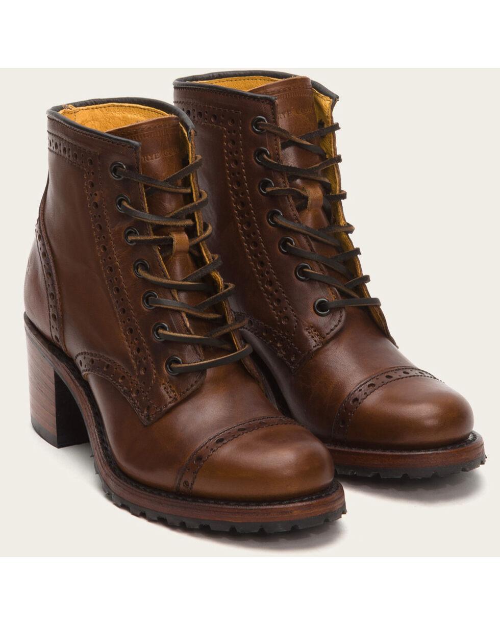 Frye Women's Cognac Sabrina Brogue Boots - Round Toe , Cognac, hi-res