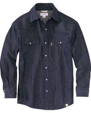 Carhartt Men's Ironwood Denim Work Shirt, Med Blue, hi-res