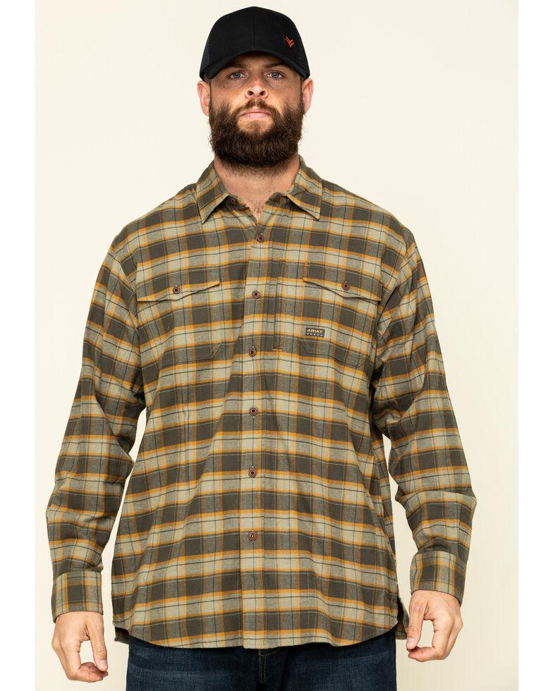 Ariat Men's Olive Rebar Flannel Durastretch Plaid Long Sleeve Work Shirt - Big , Olive, hi-res