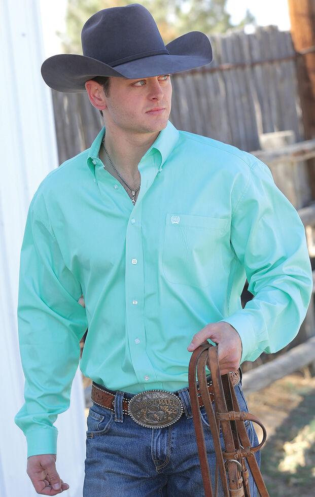 Cinch Men's Green Button Long Sleeve Shirt - Big & Tall, Green, hi-res