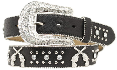 Blazin Roxx Cross Pistols Concho Studded Belt, Black, hi-res