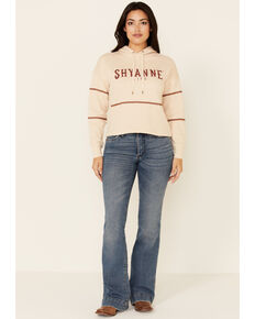 Shyanne Life Women's Tan & White Embroidered Logo Crop Hoodie , Tan, hi-res