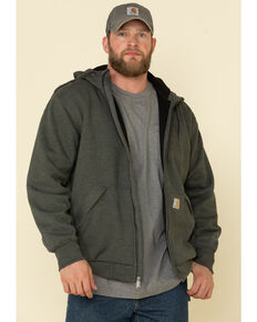 Carhartt Men's Rain Defender Thermal Lined Zip Hooded Work Sweatshirt, Charcoal, hi-res