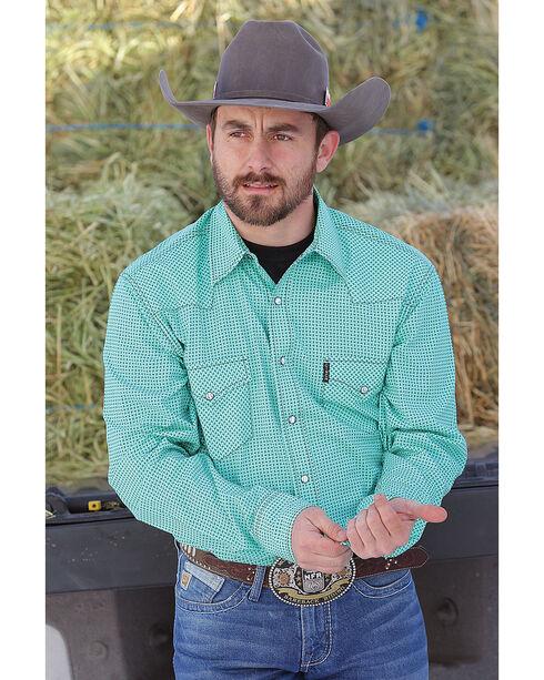 Cinch Men's Modern Fit Printed Plain Weave Western Snap Shirt, Green, hi-res