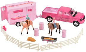 Bigtime Rodeo Cowgirl Truck, Trailer & Accessory Set, Pink, hi-res